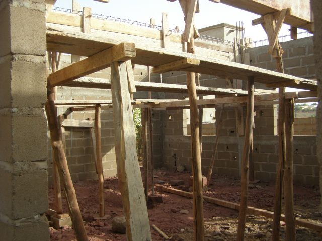 photo du chantier de construction de l'école de l'association Objectif Mali
