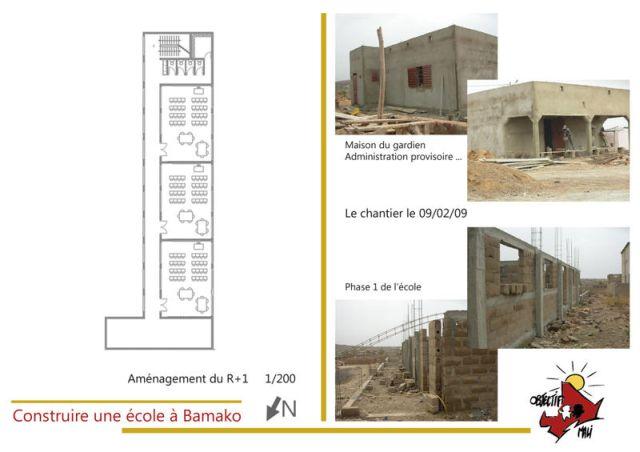 Ecole de l'association humanitaire Objectif Mali détails phase 1 des travaux