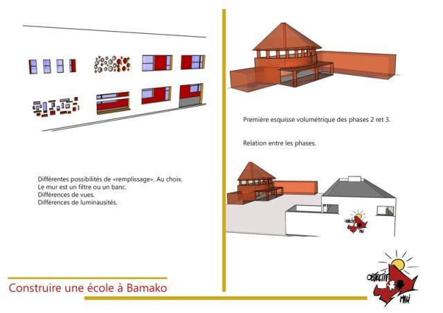 Ecole de l'association humanitaire Objectif Mali Esquisse 3D