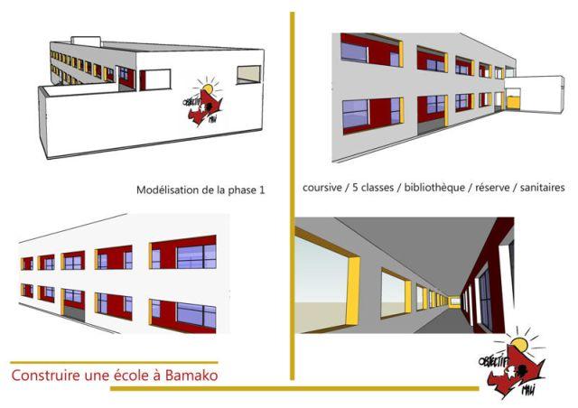 Ecole de l'association humanitaire Objectif Mali vue 3D phase 1 des travaux