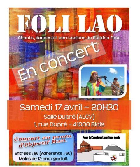 Affiche du concet de FOLI FAO pour l'association Objectif Mali